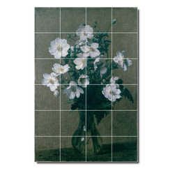 Picture-Tiles, LLC - Japanese Anemones Tile Mural By Henri Fantin-Latour - * MURAL SIZE: 25.5x17 inch tile mural using (24) 4.25x4.25 ceramic tiles-satin finish.