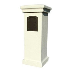 "Qualarc, Inc. - Manchester Non-Locking Stucco Column, Sandstone - Manchester Non-Locking Stucco Column comes ready to install over your 4"" x 4"" wood post. It has a styrofoam core with a painted stucco exterior."