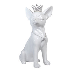 Interior Illusions - Chihuahua Bank With Crystal Crown, White - Decorate your desk or bookshelves with this white Chihuahua bank. The handmade ceramic piece features a removable coin stop, petite crystal crown and crystal bone necklace. The Chihuahua's white gloss glaze and intricately designed tiara make it a fun and polished addition to any children's room.