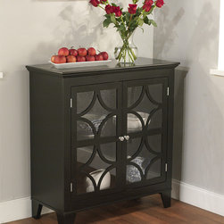 Simple Living - Simple Living Black Sydney Cabinet - With scroll detailing on the acrylic doors of this black cabinet,it serves as a  beautiful addition to your dining or living area. An adjustable shelf lets you store dishes,vases,and serving items to have close at hand for entertaining.