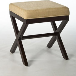 Hillsdale - Wood Vanity Stool - Feels vintage without becoming too old-fashioned.. A backless, espresso-hued vanity bench made of solid hardwood. Combines a neutral, textured seat cover with antique-inspired, cross-hatched legs . Some assembly required. 17 in. W x 17 in. D x 18.5 in. H (9.9 lbs.)