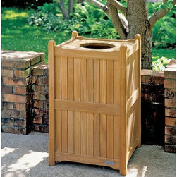 Oxford Garden - Oxford Garden 20 Gallon Trash Receptacle with Liner - TR22 - Shop for Trash Receptacles from Hayneedle.com! This waste receptacle is an excellent compliment to all Oxford family pieces of furniture or your existing teak or shorea wood furniture. This unit has a sturdy and removable liner vented removable bottom and open lid.Shorea Wood: An Eco-Friendly Choice Like teak it's more expensive counterpart Shorea is a high-quality hardwood praised not only for its looks but also for its longevity and resistance to decay. Shorea is hard and dense like teak. In fact it possesses an even tighter wood grain making it heavier denser and harder than teak and both woods are extremely resistant to decay. Shorea wood contains a comparatively high oil content which not only enhances its defenses against the ravages of time and changing climate but also against destructive insect infestations. So if teak and Shorea are so similar why does teak cost up to twice as much? Shorea's lower cost can be attributed to its abundance compared to teak's rarity. This abundance of supply is also what makes Shorea a green choice. Shorea wood is carefully regulated. Only mature trees can be legally harvested. This ensures a steady supply of Shorea wood while also protecting irreplaceable forests. Because Oxford Garden obtains their Shorea wood from superior sources minimal processing is required to bring out the wood's stunning color and grains. This means less chemicals used. Oxford Garden's factories use recycled wood to fuel production kilns. They take steps to conserve natural resources and the result is a smaller carbon footprint. Why Choose Oxford Garden? Exquisite pieces and impressive product assortment aside there are several factors that set Oxford Garden apart from the competition. First Oxford Garden starts with the best Shorea wood sources. This results in more beautiful more durable furniture. The next thing that distinguishes them is their unrivaled craftsmanship. The