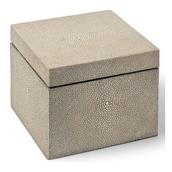 Kathy Kuo Home - Destin Coastal Beach Ivory Grey Shagreen Square Decorative Box - Square and stylish, this shagreen-covered box adds a Coastal Beach accent to a dresser, table or nightstand. Rich and vibrant, the textured grey finish is uniquely patterned and shaded. It is the perfect place to store your personal treasures.