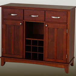 HomeStyles - 36.25 in. Buffet in Cherry Finish - Organize and store linens and utensils, while displaying favorite wines and collectibles. This buffet is an exceptional serving piece with a classic design that includes paneled doors. Cherry finish gives it the added appeal of a country setting that is gracious and welcoming. * Three utility drawers. Two wood framed cabinet doors with an adjustable shelf for plenty of inside storage. Center wine storage area. Brushed steel hardware. Adjustable floor levelers. Made from Asian hardwood. Made in Thailand. Assembly required. 41.75 in. W x 17 in. D x 36.25 in. H