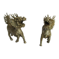 Golden Lotus - Pair Chinese Antique Hand Made Metal Silver Color FenShui QiLin Statue - Look at this pair of Chinese antique QiLin statue which is made of metal and has detailed graphic carving on the body.  QiLin will bring good luck and proection to you in Chinese culture.  It should be nice a table decor or put at entrance hallway.