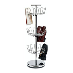 Home Decorators Collection - Chrome Revolving Shoe Tree - This piece features revolving shoe racks on a metal frame that will fit into any corner of your closet, keeping your footwear neatly organized and easily accessible. Built to last for years to come, you will love having this piece as a part of your home. Place your order today. Heavy-duty commercial-grade chromed steel offers durability.Adjustable-height tiers hold up to 18 pairs of shoes.