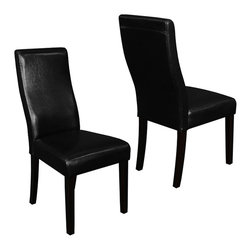 Monsoon - Livorna Faux Leather Black Curved-back Dining Chairs (Set of 2) - Give your dining space a luxurious touch with this set of 2 faux leather dining chairs. These curved-back style chairs are constructed from pine wood and fire-retardant foam and utilize an ergonomic design for added comfort and support.