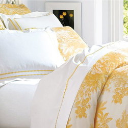 Matine Toile Duvet Cover, Marigold, Full/Queen - I love the deep gold and white of this toile bedding. It reminds me of gold leaves falling from the trees.
