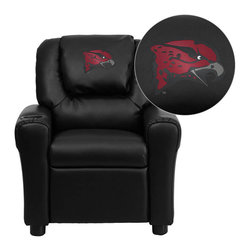 """Flash Furniture - Maryland Eastern Shore Hawks Black Leather Kids Recliner with Cup Holder and Hea - Get young kids in the college spirit with this embroidered college recliner. Kids will now be able to enjoy the comfort that adults experience with a comfortable recliner that was made just for them! This chair features a strong wood frame with soft foam and then enveloped in durable leather upholstery for your active child. This petite sized recliner is highlighted with a cup holder in the arm to rest their drink during their favorite show or while reading a book. University of Maryland Eastern Shore Embroidered Kids Recliner; Embroidered Applique on Oversized Headrest; Overstuffed Padding for Comfort; Easy to Clean Upholstery with Damp Cloth; Cup Holder in armrest; Solid Hardwood Frame; Raised Black Plastic Feet; Intended use for Children Ages 3-9; 90 lb. Weight Limit; CA117 Fire Retardant Foam; Black LeatherSoft Upholstery; LeatherSoft is leather and polyurethane for added Softness and Durability; Safety Feature: Will not recline unless child is in seated position and pulls ottoman 1"""" out and then reclines; Safety Feature: Will not recline unless child is in seated position and pulls ottoman 1"""" out and then reclines; Overall dimensions: 24""""W x 21.5"""" - 36.5""""D x 27""""H"""