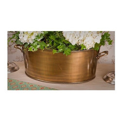 """Dessau Home - 14 in. Planter (Antique Brass) - Color: Antique BrassMade from brass. Antique brass color. Made in India. 19 in. L x 6.75 in. W x 14 in. HValue has always been an essential ingredient at Dessau Home. """"Essentials"""" represents a collection of well-appointed yet affordable home furnishings with a unique traditional styling that appeals to most transitional and contemporary home decorating needs."""