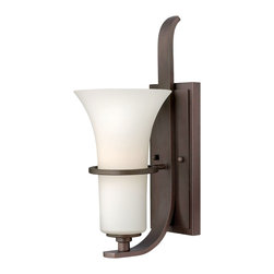 Hinkley Lighting - Lauren 1-Light Sconce - The transitional style of the Lauren collection features sweeping intersecting rectangular arm construction in a Victorian Bronze finish. The delicate etched opal trumpet glass sits inside a ÛÏfloatingÛ metal ring adding to its rustic-chic appeal.