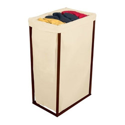 Bagstand - Single Bronze Hamper with Cotton Bag - Our Bagstand single bronze hamper with cotton bag. 100% Cotton Stylish hamper neatly contains otherwise messy piles of clothing and linens Heavy-gauge steel-frame construction with handsome bronze finish. Durable, machine-washable cotton laundry bag. Removes for easy transport. Open design allows air to circulate. Holds 2 loads of laundry; minimal assembly required. Our single bronze hamper is great for college dorms. Great for toy storage in kids room.