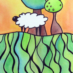 """Groovy Gal Designs Online - Sheep On A Hill #3 Watercolor Mixed Media 5x7 Artwork Painting - This vibrant and fun little piece is part of a series called """"Sheep On A Hill."""" I created it on Strathmore watercolor paper using Derwent Inktense watercolors and ink. The tree includes gold glitter embellishments to sparkle and catch the light. The unframed piece measures 5"""" x 7"""" and is signed on the front. Ships worldwide from Houston, Texas."""