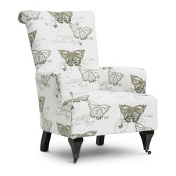 Baxton Studio - Baxton Studio Deering Beige Linen Accent Chair - Like an entry out of a butterfly collector's journal, the Deering Designer Arm Chair is stamped with images of butterflies and their scientific names. This beige linen accent chair's print was inspired by Carl Linneaus, a Swedish botanist and zoologist who lived during the 1700s. Made in China, the Deering Chair features an engineered wood frame, foam cushioning (CA117 compliant), and black lacquer wooden legs, the front two of which feature dark antiqued metal decorative wheels. The Deering Arm Chair requires minor assembly and calls for spot cleaning as necessary.