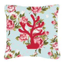Caroline's Treasures - Coral Shabby Chic Blue Roses Fabric Decorative Pillow Bb1101 - Indoor or Outdoor Pillow from heavyweight Canvas. Has the feel of Sunbrella Fabric. 18 inch x 18 inch 100% Polyester Fabric pillow Sham with pillow form. This pillow is made from our new canvas type fabric can be used Indoor or outdoor. Fade resistant, stain resistant and Machine washable..