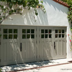 Carriage Garage Doors - Outswing garage doors on a double wide garage opening.