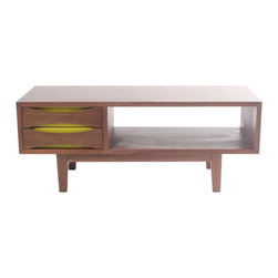 NyeKoncept - Hanna Media Unit - This modern media unit is not just great looking; it is also durable and functional. The open space offers more than enough space for a DVD player and a surround system unit while the two matt colored with yellow drawers have plenty of space for your DVD collection.