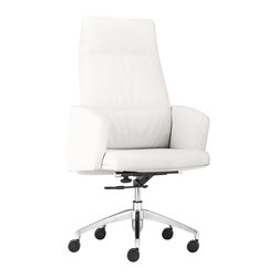 Zuo - Chieftain High Back Office Chair, White - The Chieftain Office Chair collection commands attention and respect, but is sleek and modern at the same time.  This high-back, leatherette-wrapped office chair is versatile, so it does not matter whether it sits behind the desk or around a conference table. Luxury and style exude from this design.  Available in black or white, the Chieftain high back office chair will make a statement that won't soon be forgotten.  Armrests make this chair comfortable to sit in, while keeping clean lines in the space.  This executive chair is perfectly paired with desks or conference room tables with a taller profile.