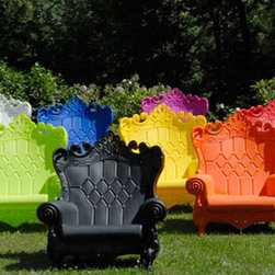 Queen of Love Armchair - Not only is this incredibly fun chair ecofriendly in recyclable plastic in 14 vibrant UV-resistant colors, but it's big enough for two to enjoy. For indoors or out, these chairs go everywhere, and I want one on wheels for my place.