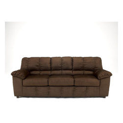 """Signature Design by Ashley - Contemporary Couch in Mocha Fabric Upholstery - Frames have been tested to GSA government standards. Corners are glued, blocked and stapled. Seats and back spring rails are cut from 7/8"""" hardwood. Stripes and patterns are match cut. All fabrics are pre-approved for wearability and durability against AHMA standards. Cushion cores are constructed of low melt fiber wrapped over high quality foam.. Color: Brown. Polyester. 90 in. L x 38 in. W x 38 in. H (110 lbs)"""