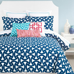 Trina Turk - Trina Turk Santorini 3 Piece Comforter Set - The Trina Turk Santorini comforter set introduces mesmerizing design to the modern interior. This bedding's vibrant interlocking curves energize in scintillating blue and white. Available in queen and king; 3-piece set includes comforter and 2 pillow shams; 100% cotton; Inserts not included; Dry clean only
