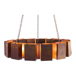 """Arteriors Home - Transitional Arteriors 14 Light Vaughn 38"""" Wide Chandelier - This contemporary chandelier from Arteriors makes an interesting addition for any room. The halo design is made out of several blocks with a rustic exterior and a lit interior. Chain cables suspended from the mounting plate to the rim of the chandelier adding visual appeal. Rusted iron finish. 38"""" Wide. 20"""" high. 47"""" high (overall).  Rusted iron finish.  Designer style large chandelier.  Fourteen maximum 25 watt or equivalent bulbs (not included).  Includes 3 feet of chain 11"""" of wire.  38"""" Wide.  20"""" high.  47"""" high (overall)."""