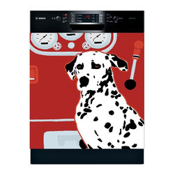 Appliance Art - Appliance Art 'Fire House Dog' Dishwasher Cover - Provide your weary old appliance an instant update with this magnetic dishwasher cover that features a Dalmatian dog standing beside a fire truck. This fun artwork lends a whimsical touch to the kitchen and attaches easily to any metal surface.