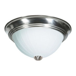 """Nuvo Lighting - Nuvo Lighting 76/245 Three Light 15"""" Flush Mount Ceiling Fixture with Frosted Me - Nuvo Lighting 76/245 Three Light 15"""" Flush Mount Ceiling Fixture with Frosted Melon Glass, in Brushed Nickel FinishNuvo Lighting 76/245 Features:"""