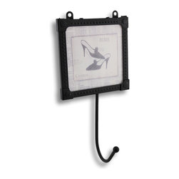 Zeckos - Framed Glass High Heels Paris Newspaper Print Wall Hook - This is a fabulous wall hook that is perfect to accent any wall in your home. Use it in the bathroom to hang hair accessories or hand towels, in the closet so you always know where your favorite robe is, or next to the door so you'll never have to search for the keys again A single hook hangs from a black metal and glass frame that shows off what looks like a hand-drawn newspaper ad for a high-fashion pair of lovely high-heeled shoes straight from the runways of Paris. It measures 7 inches high, 3 5/8 inches wide and 2 inches deep. This wall hook art could be the finishing piece to your wall decor