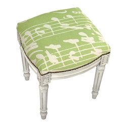 123 Creations - Sheet Music, Printed Linen and Wooden Stool. Antique white wash. - This unique hand-printed vanity stool accents your rooms and provides beautiful extra seating. Solid wood frame is hand-carved with hand-applied brass nail heads.