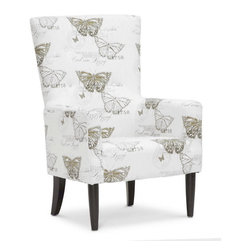 "Baxton Studio - Baxton Studio Linneaus Beige Linen Accent Chair - Like an entry out of a butterfly collector's journal, the Linneaus Designer Arm Chair is stamped with gold and brown images of butterflies and their scientific names. This beige linen accent chair gets its inspiration from its namesake, Carl Linneaus, a Swedish botanist and zoologist who lived during the 1700s. Made in China, the Linneaus Chair features an engineered wood frame, foam cushioning (CA117 compliant), and black lacquer wooden legs. The Linneaus Arm Chair requires minor assembly and calls for spot cleaning as necessary. Product dimension: 29.5""W x 32.12""D x 44.75""H, seat dimension: 21.12""W x 23""D x 18.12""H, seat height: 25.37"""