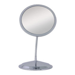 Zadro - Double Vision Twin Gooseneck 5X-10X - Zadro's 10X/5X Gooseneck Mirror features two optical quality glass mirrors to ensure a clearer reflection of your true self. On one mirror head, the 10X magnification is great for touch-ups, detail, and make-up application. On the other mirror head, the 5X magnification is perfect for viewing up close in detail while still allowing you to see your entire face. There is simply no better bathroom mirror for hairstyling, cosmetic application, and every beauty need in between.