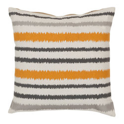 Surya Rugs - Papyrus, Flint Gray and Hot Cocoa Polyester Filled 18 x 18  Pillow - - Add fun to any room with this striped design and colors of papyrus, flint gray, and hot cocoa. This pillow has a polyester fill and zipper closure. Made in India with one hundred percent linen, this pillow is durable and priced right  - Cleaning/Care: Blot. Dry Clean  - Filled Material: Polyester Filler Surya Rugs - AR103-1818P