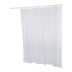 Polyester Wrinkle Shower Curtain White - This wrinkled shower curtain for bathrooms is in polyester, tissue effect. The modern wrinkle effect will give your bathroom that contemporary look. Reinforced grommets and header along the top make it durable enough for long-lasting satisfaction (12 shower rings needed, sold separately). Water-repellent and machine washable, it will fit perfectly in your shower or bathtub. Prior to hanging, immerse curtain in a bath of warm water to help remove creases. Cleaning with soapy water only. Width 71-Inch and height 79-Inch. Color white. This shower curtain is perfect to add a decorative touch in your bathroom! Complete your decoration with other products of the same collection. Imported.