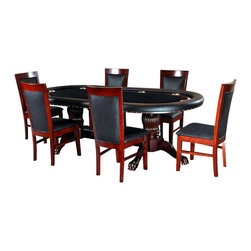 BBO Poker Tables - BBO Poker The Rockwell 7-Piece Poker Table Set with 6 Dining Chairs - BLK - The Rockwell poker table is a gallery quality elegant furniture poker table that impresses even the most discerning players. Solid wood finish and customizable playing surface makes the Rockwell a personalized high end poker table. Ten, 4in cup holders which can accommodate wine (and whiskey) glasses sit flush in the gloss mahogany racetrack providing an upscale battlefield for 10 players. The Rockwell is finished with premium upholstery and professional foam and playing surface velveteen. Add a dining top or matching chair to turn this custom poker table into a dining set.