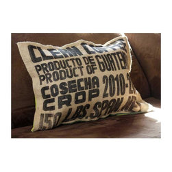 "Jute and Cotton ""Coffee Beans"" Cushion Cover - I'm a graphic designer, so I love type and tend to be drawn to chunky, bold fonts. This pillow makes a great focal point on my bed. It's made from a recycled jute coffee sack, so it is as ecofriendly as it is attractive."