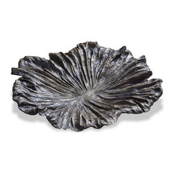 Kathy Kuo Home - Asara Solid Cast Brass Table Centerpiece Lotus Leaf - This highly textured, leaf-shaped decorative dish contributes a hint of rustic style to your home while evoking a subtle sense of nature.  Crafted out of cast brass with an antique brass finish, the Asara Lotus Leaf is sure to serve as a unique accent to your home and is a beautiful complement to rich woods, solid-colored marbles and other interior surfaces.