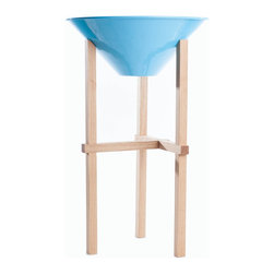 Steel Life - Tall Matchstick Planter, Sky (Blue) - For plants you really want to elevate and put front and center, this mod planter is a step above the rest. The sky blue pot will catch your eye, while the oak base finished with a UV coating can stand up (literally) to prolonged sun exposure.