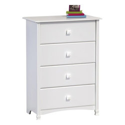 Ameriwood - Ameriwood 4 Drawer Chest in White Stipple - Ameriwood - Chests - 5447015Y - This simple yet elegant dresser from Ameriwood includes two styles of drawer knobs - white-finish wood and crystal clear - so you can choose the look that fits your space best! Four spacious drawers provide room for clothes and accessories providing concealed storage in the master bedroom guest rooms kids' bedrooms or other spaces. Finished in Ameriwood's White Stipple finish the dresser has a crisp clean and inviting appearance that complements virtually any décor. The dresser is also designed with lots of great features including attractive profiled edges and drawer fronts fluted moldings contoured side moldings and curved bottom apron. It also features interior finished drawers metal drawer slides and decorative feet made from solid wood.