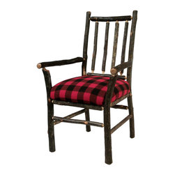 "Flat Rock Furniture - Flat Rock Berea Rail Back Arm Chair in Buffalo Check - A classic and stylish addition to any home, Flat Rock's ""Berea"" dining chair is available in a wide selection of fabrics"