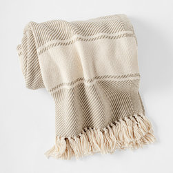 """Serena & Lily - Serena & Lily Brahms Mount Banded Herringbone Throw - With its dreamy drape, this cozy throw will be a fast favorite. Bookended by stripes in contrasting ivory and detailed with a knotted fringe, the look is timeless. Each is handcrafted at one of our favorite mills in Maine. 100% cotton. Machine wash. Made in the USA. 48"""" x 70"""". Fringe: 3""""."""