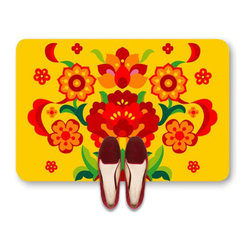 Red flowers on yellow doormat - TheRed flowers on yellow doormat in vivid color is a truly eye-catching element to any decor of your bedside, doorway, kitechen or bath. This doormat has so much style and personality, it will perk you up every time you walk through on it. It is a perfect canvas for a modern room setting.