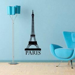 None - Eiffel Tower Vinyl Wall Decal Art - Add a touch of excitement to your wall decor with this abstract vinyl wall decal. This easy-to-apply decal features the Eiffel Tower with the city name 'Paris' below it.