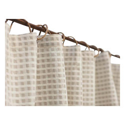 Coyuchi - Birch Cotton/Linen Shower Curtain Birch Natural - Fine linen and organic cotton come together in a damask weave that's both substantial and beautiful. Our shower curtain may be used with a liner or without-just squeeze the water out of the lower edge after use and let it dry. Hangs from rustproof metal grommets.  Our cotton/linen is made in India from flax grown in France and Belgium, and 100% organic cotton from India.