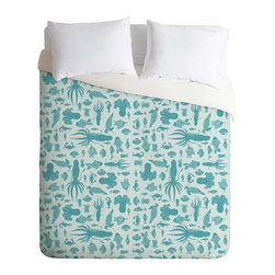DENY Designs - DENY Designs Jennifer Denty Sea Creatures Duvet Cover - Lightweight - Turn your basic, boring down comforter into the super stylish focal point of your bedroom. Our Lightweight Duvet is made from an ultra soft, lightweight woven polyester, ivory-colored top with a 100% polyester, ivory-colored bottom. They include a hidden zipper with interior corner ties to secure your comforter. It is comfy, fade-resistant, machine washable and custom printed for each and every customer. If you're looking for a heavier duvet option, be sure to check out our Luxe Duvets!