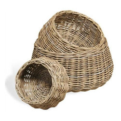 Interlude Home - Interlude Home Antibes Round Baskets - These Interlude Home Round Baskets  are crafted from Rattan and finished in Gray Wash.  Overall sizes are: 26 in. W x  26 in. D x 13 in. H.  22 in.  in. W x  22 in.  in. D x  11 in. H.  15 in. W x  15 in. D x  8 in. H.