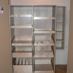 Closet and Walk-In Pantries - With ShelfGenie, you're in charge of your pantry.  Choose the shelf height, the spacing and the accessories, like the tray bin shown above in the lower left.