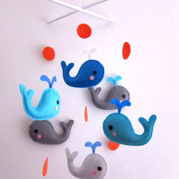Blue and Grey Whales Baby Mobile by Lovelyfriend - This one is perfect for the nautical nursery. The punch of orange and aqua used on these friendly little whales is so fresh.