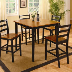 Bernards - 5 Pc Pub Table Set in Oak & Black Finish - Set includes table and 4 stools. Made of wood. 40 in. W x 36 in. H (134 lbs.)