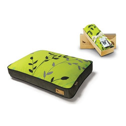 P.L.A.Y. - P.L.A.Y. Greenery Rectangular Bed Cover Pear/Rifle Green Small - These rectangular bed covers are stylish, colorful, and simple, and therefore look great in any space they are kept in. they are perfect for your pets because of their warm, comfortable and cozy feel. Made completely from natural cotton, these beds are allergy free, soft, and extremely easy to wash. Suring their manufacturing process, quality standards are fully met which ensures that the product is safe.  Designed for the Greenery rectangular pet bed. Created exclusively for P.L.A.Y. by French design studio Atelier LZC. Looks great in living room, family room or SUV. 100% natural cotton covering is soft, breathable and allergy-free. Furniture-grade craftsmanship and even-basting stitching ensures dog-years of use. Custom-made P.L.A.Y. zipper makes it easy to slip cover off for washing or replacement for a new style. Made in a facility that meets the strict quality standards for infant and children products. Momo-approved and tested by her four-legged friends.